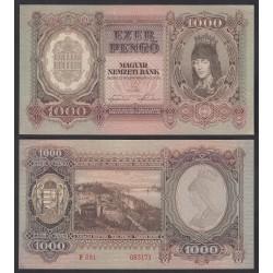 HUNGRIA 1000 PENGO 1943 CUADRO ROMANTICO Color Marrón VISTA DEL RIO EN LA CIUDAD Pick 116 BILLETE EBC+ DOBLEZ Hungary