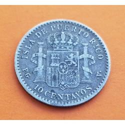 . ALFONSO XIII PUERTO RICO 40 CENTAVOS DE PESO PGV PLATA ESPAÑA