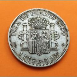 ALFONSO XIII PUERTO RICO 5 PESETAS 1895 PGV PLATA RARA ESPAÑA