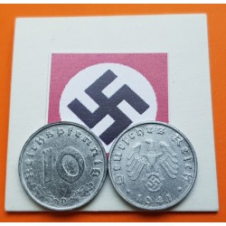 ALEMANIA 10 REICHSPFENNIG 1941 D AGUILA NAZI y ESVASTICA KM.101 MONEDA DE ZINC MBC Germany III REICH