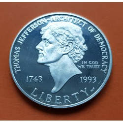 . ESTADOS UNIDOS $1 DOLAR 1993 S THOMS JEFFERSON PLATA PROOF Dol