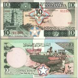 SOMALIA 10 SHILLINGS 1983 PESCADORES ARREGLANDO BARCA Pick 32A BILLETE SC Africa UNC BANKNOTE