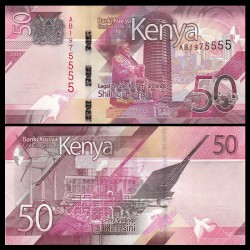 KENIA 50 SHILINGI 2019 Nuevo diseño RASCACIELOS y FABRICA Pick 52 BILLETE SC Africa KENYA UNC BANKNOTE 50 Shillingi Hamsini