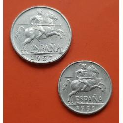 2 monedas x ESPAÑA 5 CENTIMOS 1953 + ESPAÑA 10 CENTIMOS 1953 JINETE IBERICO ALUMINIO ESTADO ESPAÑOL EBC+ CASI SC