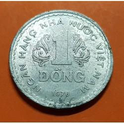 VIETNAM 1 DONG 1976 ESCUDO y VALOR República Socialista KM.14 MONEDA DE ALUMINIO MBC State of South Vietnam del Sur