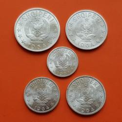5 monedas x ALBANIA 5 + 10 + 20 + 50 QINDARKA 1964 + 1 LEK 1964 AGUILA y VALOR MONEDAS DE ALUMINIO @LUJO@ Albanien