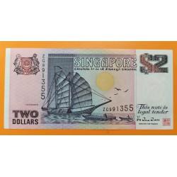 SINGAPUR 2 DOLARES 1992 ANTIGUO BARCO VELERO y FESTIVAL DEL DRAGON Pick 28 BILLETE MBC Singapore banknote 2 Dollars