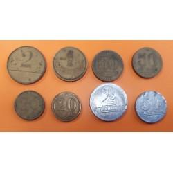8 monedas x BRASIL 20+20+50+50 CENTAVOS (3 diferentes) y 1+2 CRUZEIROS 1944 a 1961 COBRE LATON ALUMINIO CIRCULADAS