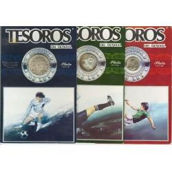 3 monedas x MEXICO 25+50+100 PESOS 1985 COPA MUNDIAL DE FUTBOL KM.499-498-497 PLATA SC Mejico silver