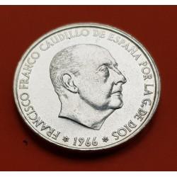 ¿¿PROOF?? ESPAÑA 100 PESETAS 1966 * 19 66 FRANCISCO FRANCO SACADA DE CARTUCHO PLATA MONEDA DEL ESTADO ESPAÑOL