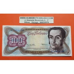 VENEZUELA 100 BOLIVARES 1978 SIMON BOLIVAR y CAPITOLIO NACIONAL Pick 55E BILLETE MBC+ @RARO@ PVP NUEVO 48€