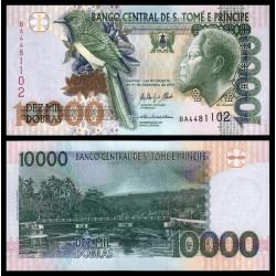SANTO TOME y PRINCIPE 10000 DOBRAS 2013 REY, PAJARO y SELVA Pick 66D BILLETE SC UNC BANKNOTE