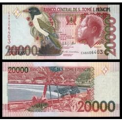 SANTO TOME y PRINCIPE 20000 DOBRAS 2013 REY, PAJARO y PLAYA PARADISIACA Pick 67E BILLETE SC UNC BANKNOTE