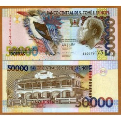 SANTO TOME y PRINCIPE 50000 DOBRAS 2013 REY, PAJARO y PALACIO Serie DA Pick 68E BILLETE SC UNC BANKNOTE