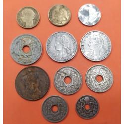 11 monedas X FRANCIA 5+10+25+50 CENTIMOS 1903/1933 NICKEL COBRE LATON EBC/SC