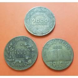 3 monedas x BRASIL 1000 REIS 1927 + 1000 REIS 1938 + 2000 REIS 1939 (3 diferentes) LATON MBC-