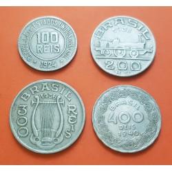 4 monedas x BRASIL 100 + 200 + 300 + 400 REIS 1924/1940 PERSONAJES NICKEL MBC-