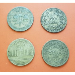 4 monedas x BRASIL 500 REIS 1922/1928/1937/1939 PERSONAJES LATON MBC-