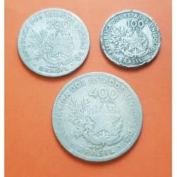 3 monedas x BRASIL 100 + 200 + 400 REIS 1901 DAMA y ESCUDO NICKEL CIRCULADAS