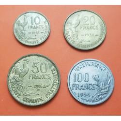4 monedas x FRANCIA 10+20+50+100 FRANCOS 1951/1952/1954 DAMA y GALLO LATON y NICKEL MBC