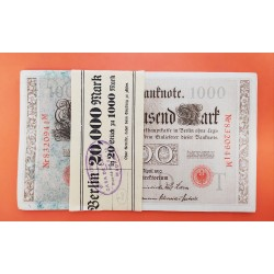 20 billetes x ALEMANIA 1000 MARCOS 1910 IMPERIO MUJERES y AGUILA letra T Serie ROJA Pick 44 EBC/SC Germany 1000 Reichsbanknote