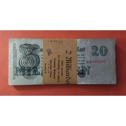 100 billetes x ALEMANIA 20 MILLONES DE MARCOS BERLIN 1923 COLOR VERDE y ROSA Pick 96 EBC Germany 20 MILLIONEN REICHSBANKNOTEN