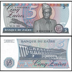 . ZAIRE 10 DIX ZAIRES 1985 GENERAL Pick 27 SC BILLETE BANQUE DU