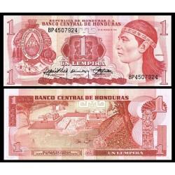 HONDURAS 1 LEMPIRA 1989 INDIO y RUINAS DE COPAN JUEGO DE PELOTA y ESCALINATA Pick 68 BILLETE SC UNC BANKNOTE