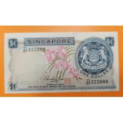 SINGAPUR 1DOLAR 1972 FLORES Y ESCUDO Pick 1D RESELLO ROJO - BILLETE SC Singapore BANKNOTE
